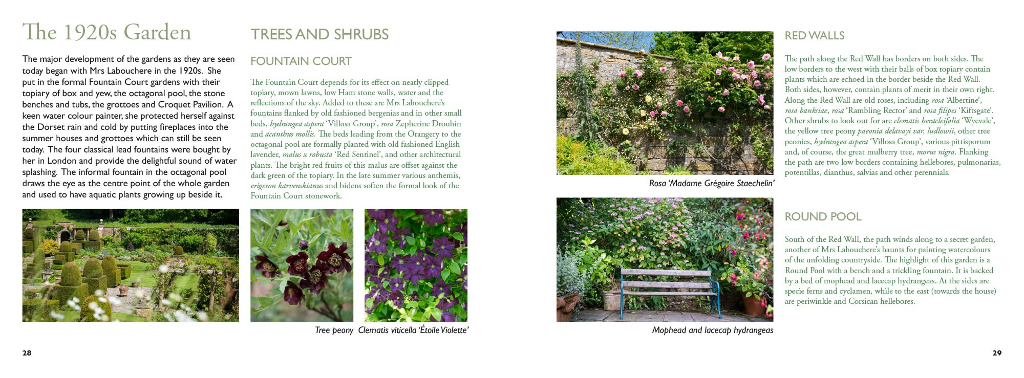 Mapperton Guidebook example of gardens spread