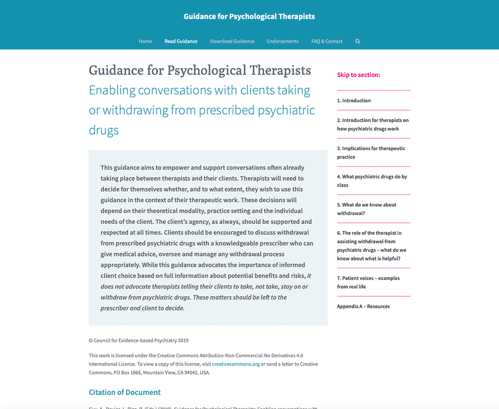 Guidance For Psychological Therapists Website