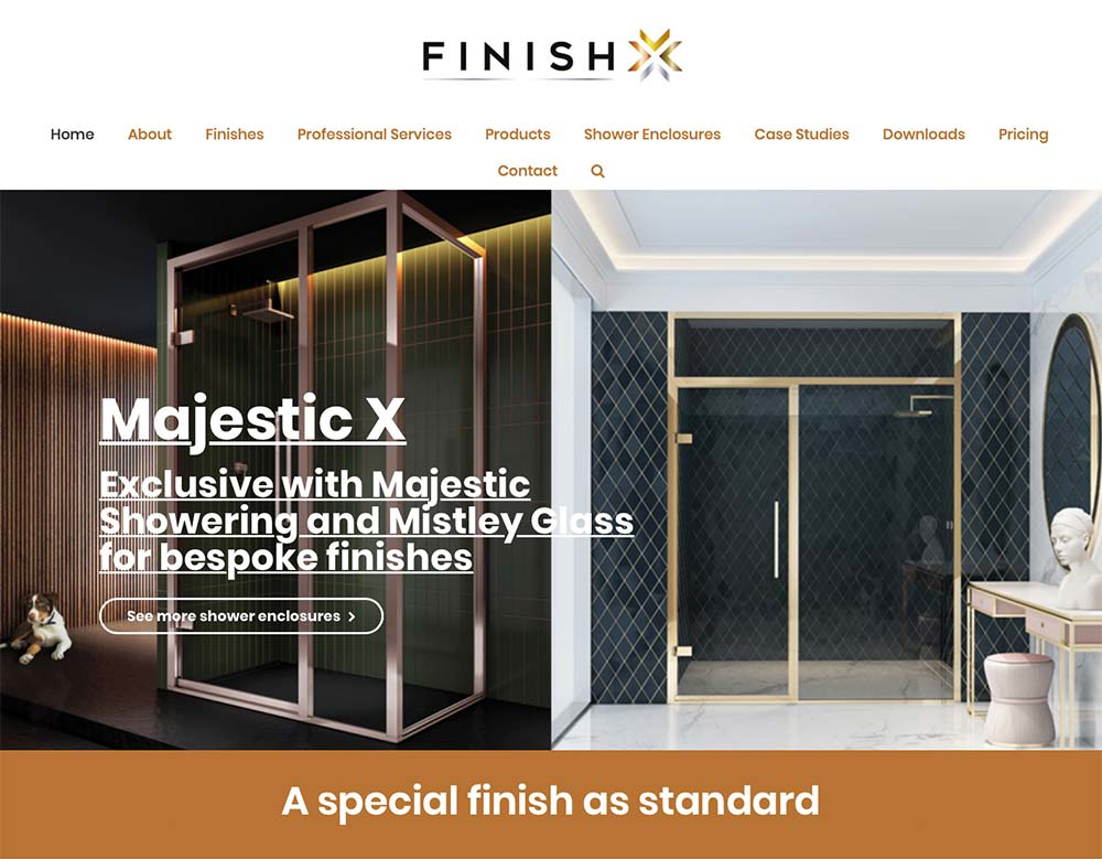Finish X Website Home Page