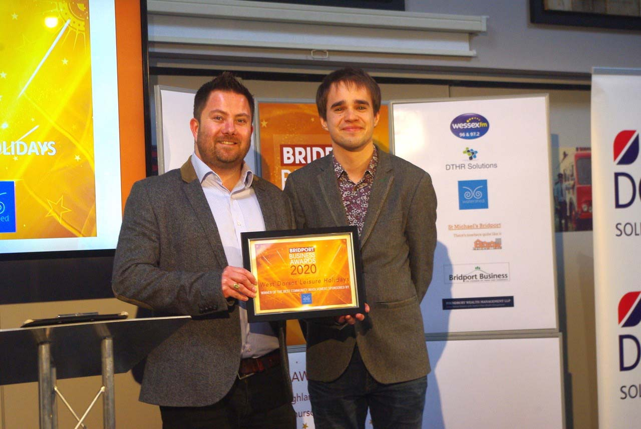 James Cox Of West Dorset Leisure Holidays And Stephen Banks Of Watershed PR At The Bridport Business Awards 2020